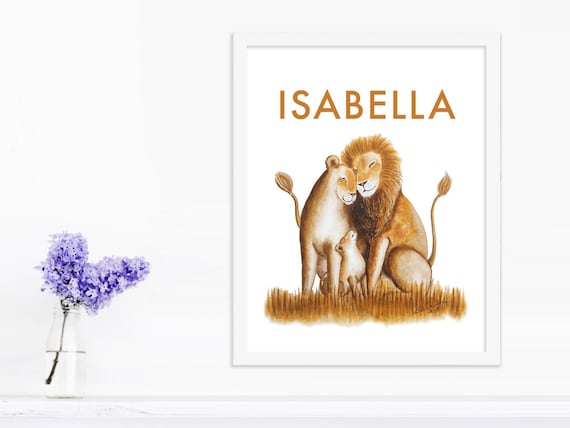 Safari nursery print custom baby gift personalized baby art like this item negle Images
