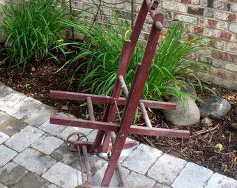 Antique Primitive Garden Hose Reel Hose Holder Hose Cart