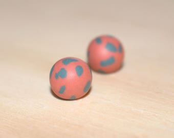 Coral and Grey Earrings  // Polymer Clay Earrings // Colour Pop Earrings