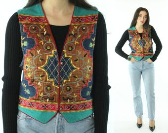 Vintage 90s Embroidered Vest Denim Suede Hairston Roberson Ropa 1990s Small S Hippie Boho Western