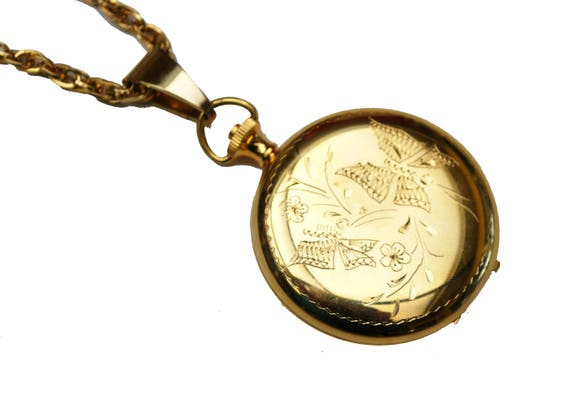 Gold  Locket Pendant Becklace - Butterfly etched design - two photos - Victorian revival pendant