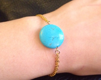 Turquoise Howlite Gold-Plated Double Chain Bracelet Small/Medium