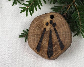 English Oak Wood Druid Awen Pendant - for Inspiration - Pagan, Wiccan, Witchcraft, pentacle
