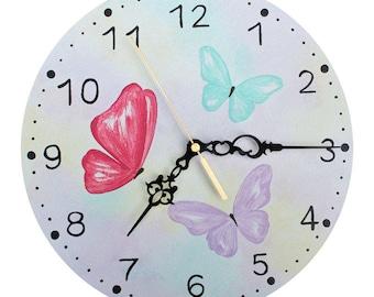 Watercolour Butterfly Wall Clock