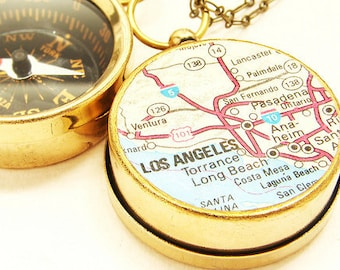 personalized Map keychain, Custom Compass Los Angeles map, Choose Your City Map graduation personalized gift