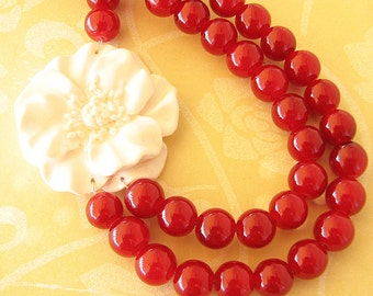 Red Necklace Maroon Jewelry Beaded Necklace White Flower Necklace Multi Strand