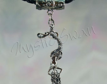 Sterling Silver Mermaid Necklace Fantasy Pendant With Scrollwork Tube Bail
