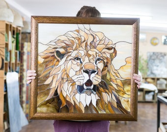 Stain Glass Lion Picture / Stain Glass Art / Stain Glass Wall Hanging / Stain  Glass