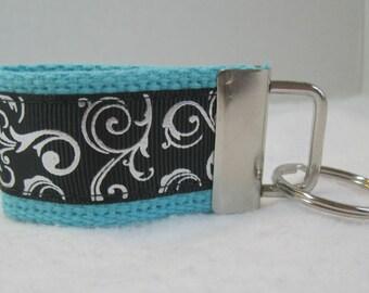 Scroll Mini Key Fob -  AQUA Black - Swirl Key Chain - Small Key Ring - Scroll Zipper Pull