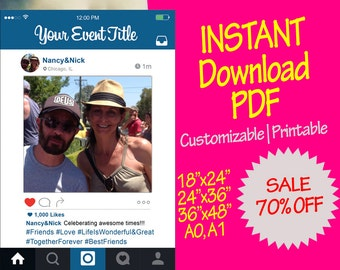 PDF Personalizable Instagram Frame, custom prop for parties, weddings, bridal & baby shower [INSTANT PDF, High Quality, Digital Only]