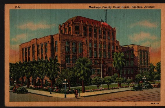 Maricopa County Courthouse + Phoenix, Arizona + Vintage Curteich Postcard
