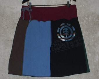 Extra Large, Element, Women's Upcycled T-Shirt Skirt, Double Thickness of T-Shirts, Straight Skirt, One of a Kind, Drawstring Waist, Black