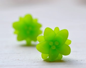 Lime Green Lotus Earrings, Lotus and Bliss Yoga Jewelry, Bright Tropical Colored Botanical Jewelry, Lotus Flower Studs