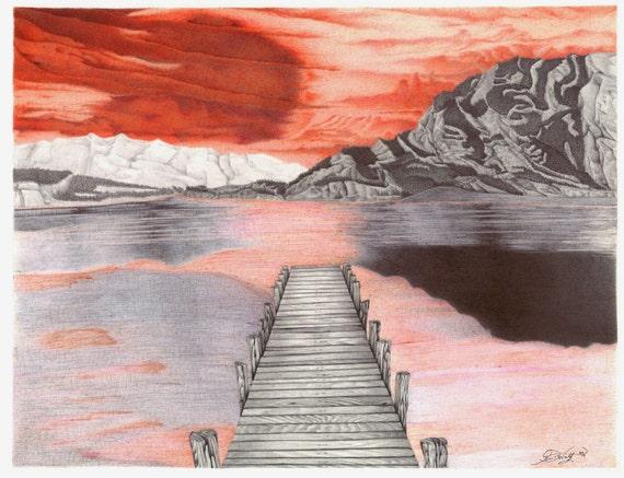 Zonsondergang op het dock ink tekening origineel print freerunsca Gallery
