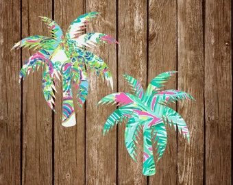 Palm Tree Vinyl Decal - Lilly Pulitzer Southern Florida Palm Coconut Tropical Preppy