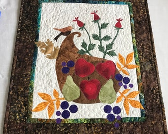 "Quilted Wall Art Appliqued and Quilted by Pam D. ""Cornucopia Harvest""  ""August - Summer/Autumn"""