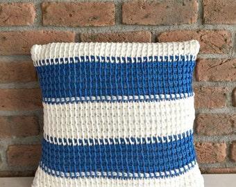 Cotton Jersey Hand Knitted Pillow Case Blue White Striped Nautical Pillow Cotton Cushion Marine Decorative Pillow Organic Pillow Jersey Yarn