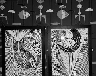 bird print. midcentury/ retro inspired lino print 30 x 40cm