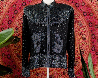 Exquisite Heavily Beaded Silk Jacket Phoenix Bird Dragon Sequin Bohemian Jacket Beaded Tassels Stevie Nicks Vintage Jacket Small Medium