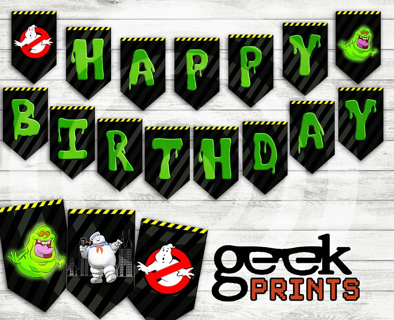 Happy Birthday Banner With Ghostbusters Theme Printable