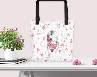 Floral tote bag, Floral print tote bag, Cherry blossom tote bag, School bag tote, Grocery shopping bag, Shopping bag, Tote bag for books