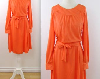 David Marshall Clementine Day Dress - Vintage 1970s Long Sleeve Dress in Medium