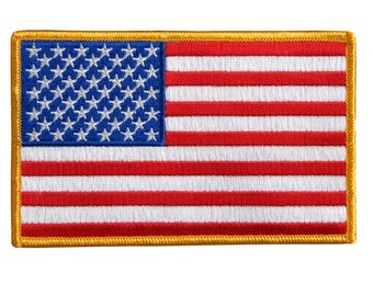 """AMERICAN FLAG, High Thread Embroidered Iron-on / Saw-on Rayon PATCH - 6"""" X 4"""""""