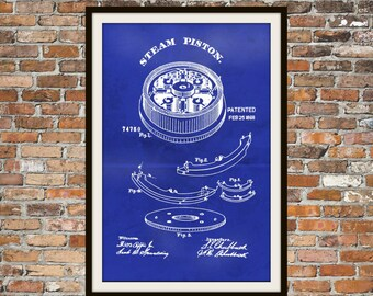 Blueprint Art of Steam Piston from 1868 Technical Drawings Engineering Drawings Patent Blue Print Art Item 0016