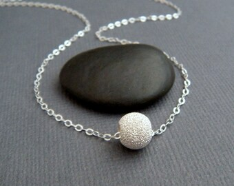 round bead necklace. simple sterling silver necklace. classic minimalist jewelry. dainty everyday necklace gift for her. stardust ball 8 mm