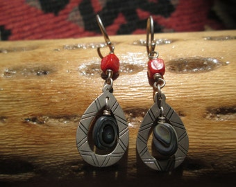 Coral Abalone and Sterling Dangle Earrings