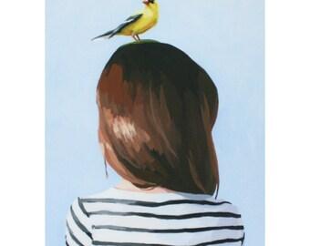 "5x7"" hair art - ""Bird Head 8"" giclee print"