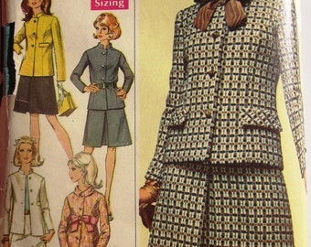 Simplicity 7862 Misses' 60s Jacket & Skirt Sewing Pattern Size 12 Bust 34