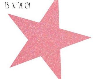 Star pattern fusible thin 15 x 14 cm glitter neon orange