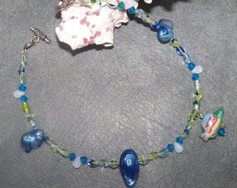 Aquamarine crystals and seashell anklet - Ankle bracelet - fish charm