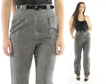 Vintage 80s Trousers High Waisted Pants Black Flecked Pleated Slacks Tapered Legs Menswear 1980s Small S XS