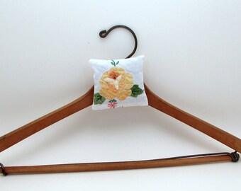 2 Lavender Sachet Set - Hanging Sachet - Closet Sachet - Hanger Sachet - Embroidered - Upcycled Vintage Linens - Rick Rack