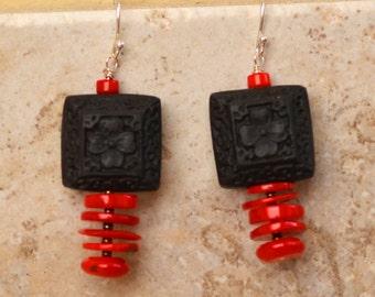 Red Coral Earrings. Oriental Earrings.  Sterling Silver. Black Hand Carved Cinnabar. Geometric  Earrings. Asian Style Earrings.