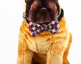 Bow Tie, Dog Bow Tie, Pet Bow Tie, Pet Neckwear, AnnabelsAccessories, Pet Accessories, Pet Neck Tie, Dog Clothing, Pink and Tan Argyle