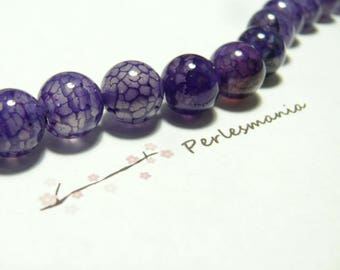 2 10mm purple Crackle Agate beads