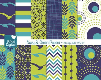 Navy and Green Digital Papers - Scrapbooking, card design, invitations, stickers, background, paper crafts, web design - INSTANT DOWNLOAD