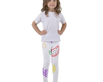 Bright and Colorful Fruit Pattern Watermelon Grapes Lime Banana Little Girls White Graphic Leggings