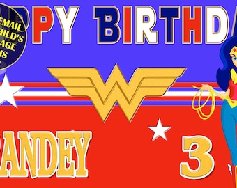 Happy Birthday Banner, Birthday Banner, Custom banners, Party Banners, Personalised Birthday Banners, banners, banners & signs, Wonder Woman