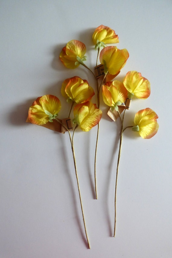 Vintage millinery silk flowers sweet peas yellow and orange touches vintage millinery silk flowers sweet peas yellow and orange touches made in german democratic republic 1950 hat trim vintage millinery from mightylinksfo Gallery