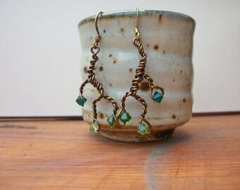 Branch Earrings in Greens