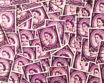 Purple, used, British, 3d wilding postage stamps all off paper for collage, stamp collecting, decoupage, art stamped and crafting