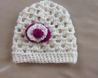 Baby Hat, Cream Baby Beanie with Cerise Flower Detail, Children's Hat, 6-12 Months Hat, Hand-Crocheted, Baby Gift Idea