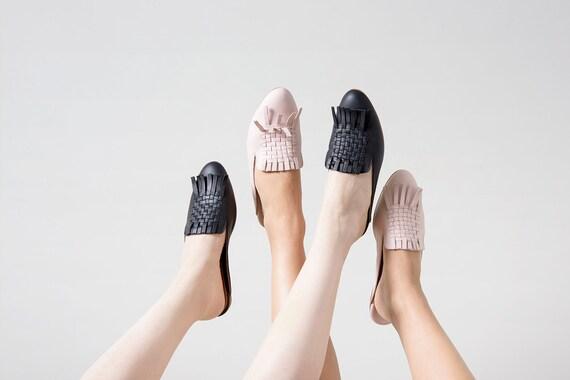 for women leather woven on Black slip handmade xwPSRf4