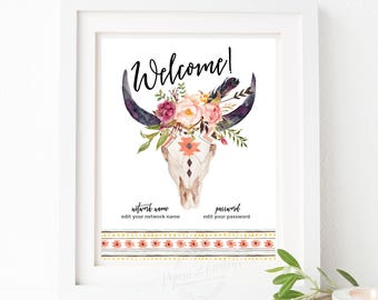 WIFI Password Sign - Boho Signs - Welcome Wifi - Guest Room Decor - Housewarming - Instant Download - Editable PDF File