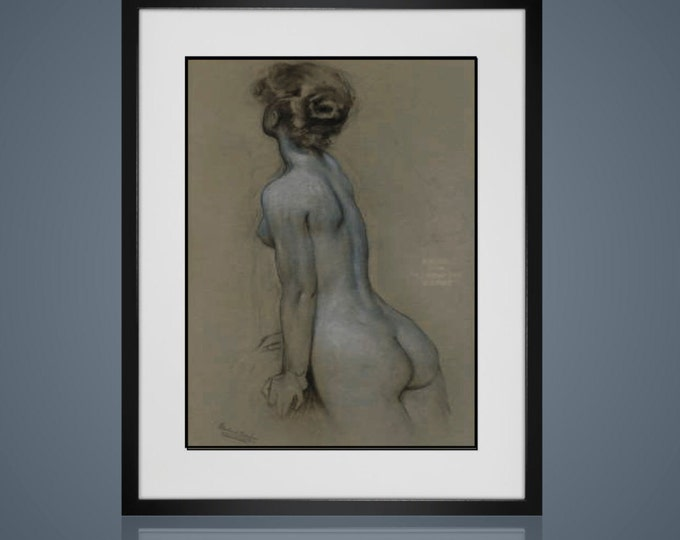Framed Wall Art -RISQUE WALL ART- Framed And Matted - Available In 4 Sizes - Choose Black or Antique White Frames - Free Shipping