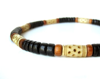 """Mens Jewelry - Tribal wood necklace for men with carved bone.  """"Morocco Necklace"""""""